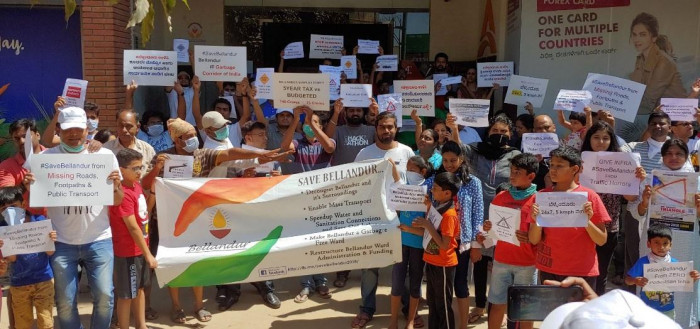 Over 10000 People Under The Banner Save Bellandur Campaign Protested Peacefully By Forming A